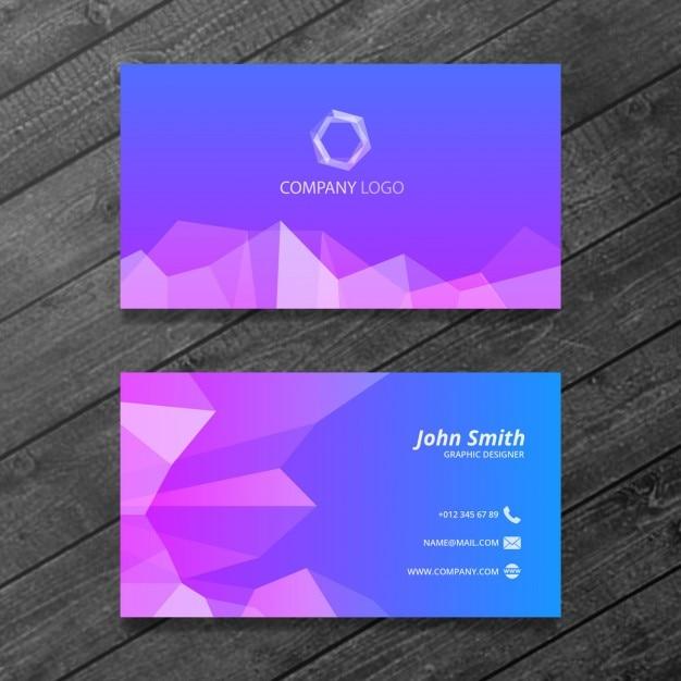 modèle de carte de visite bleu et violet Psd gratuit