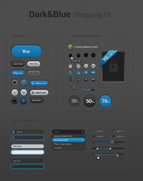 shopping icons fonc u00e9 et bleu simples