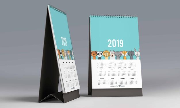 Calendario da tavolo mockup scaricare psd premium