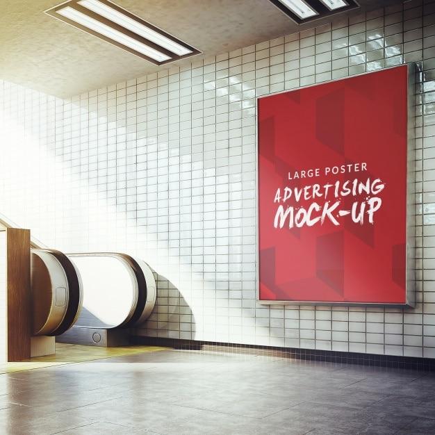 manifesto della metropolitana mock up di progettazione Psd Gratuite