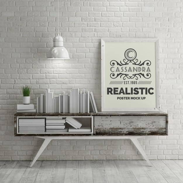 manifesto realistica mock up Psd Gratuite