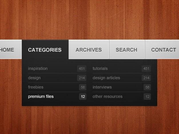 Menu di navigazione semplice scaricare psd gratis for Semplice creatore di piano gratuito