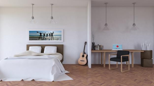 Mockup di interior design con scrivania in camera da letto ...