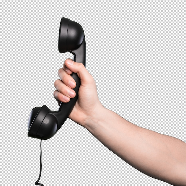 Telefono Nero Su Sfondo Bianco Scaricare Psd Premium