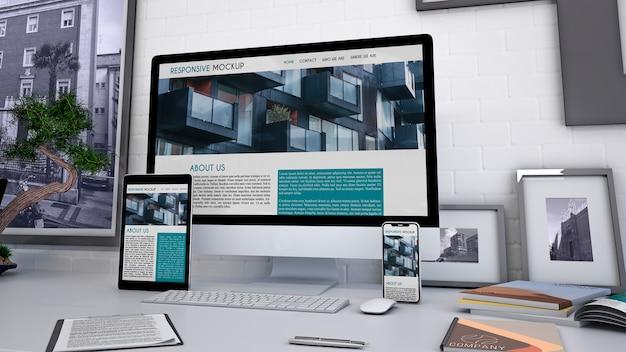 Arbeitsbereich-Modell mit Computer Kostenlose PSD
