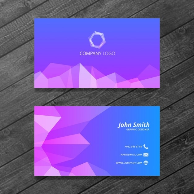 Blaue und lila Visitenkarten Vorlage Kostenlose PSD