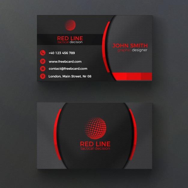 Corporate-rote und schwarze Visitenkarte Kostenlose PSD