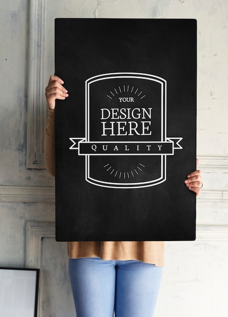 Entwurfsraum auf schwarzem Brett | Download der Premium PSD