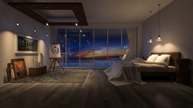 Innenarchitekturmodell mit Schlafzimmer nachts   Download der ...