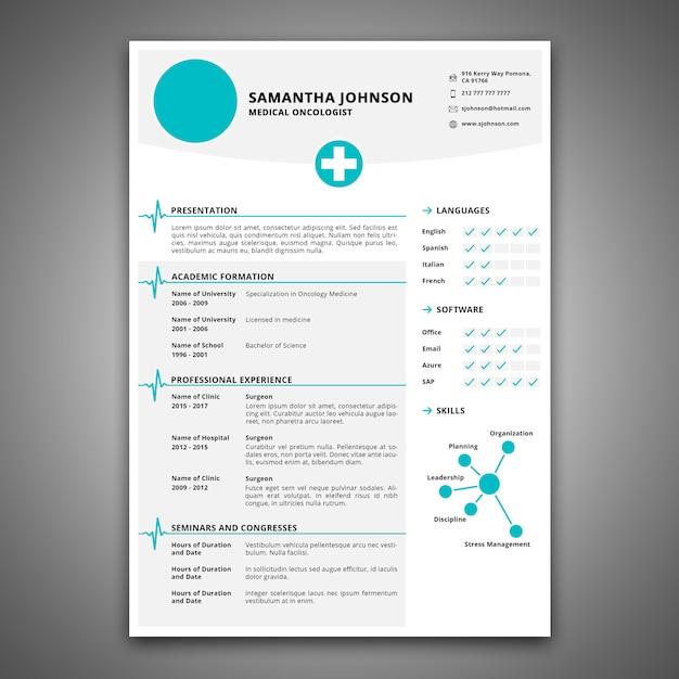 Lebenslauf-Modell für Gesundheitsfürsorgejob   Download der Premium PSD