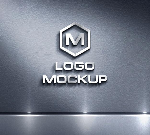 Logo Mock up auf Metall Hintergrund Kostenlose PSD