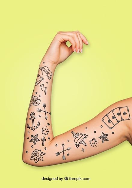 Mockup für Tattoo-Kunst | Download der kostenlosen PSD
