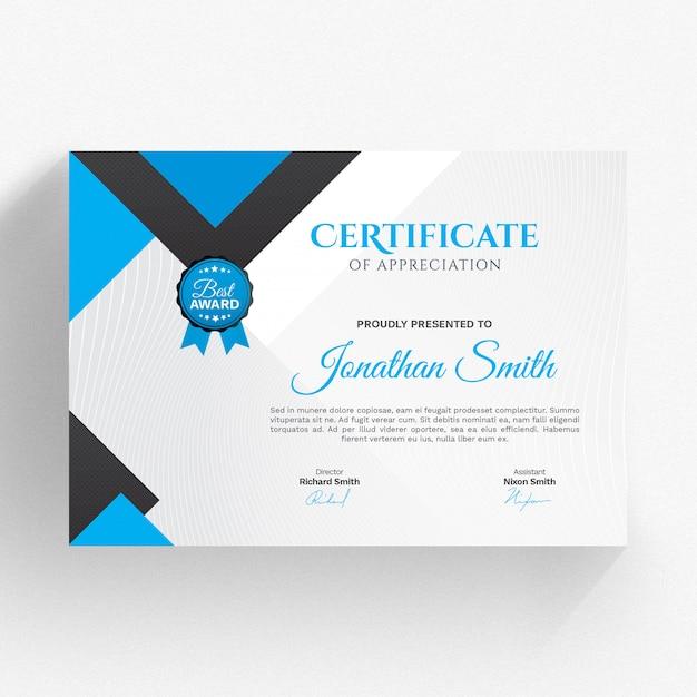 Moderne blaue Zertifikatvorlage | Download der Premium PSD