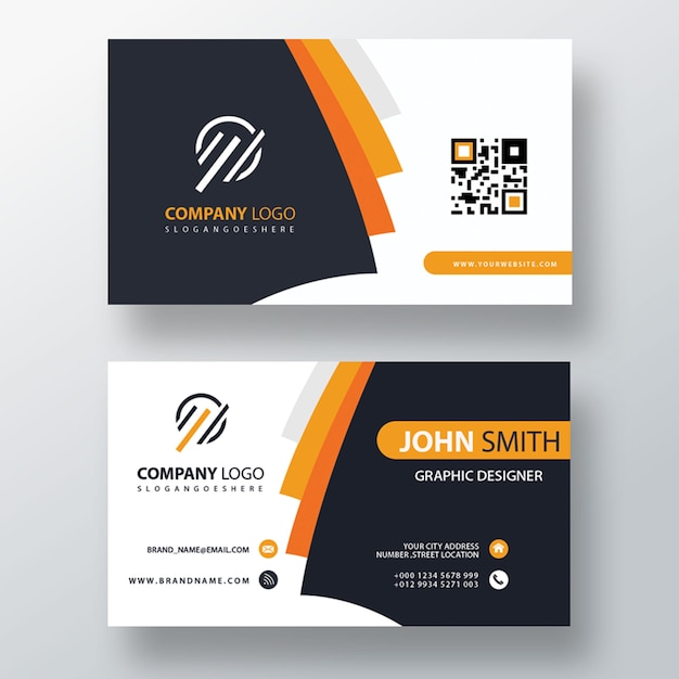Orange elegante Unternehmenskarte Kostenlose PSD
