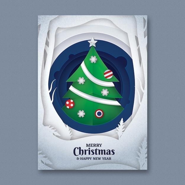 Papierkunst-Weihnachtsflieger-Schablone Kostenlose PSD