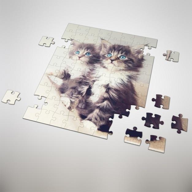 Puzzle Mock-up-Design Kostenlose PSD