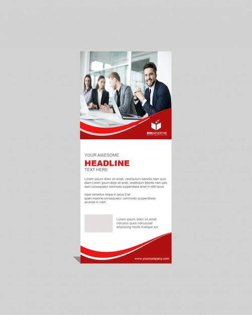 Roll-up-Vorlage mit roten Linien Kostenlose PSD