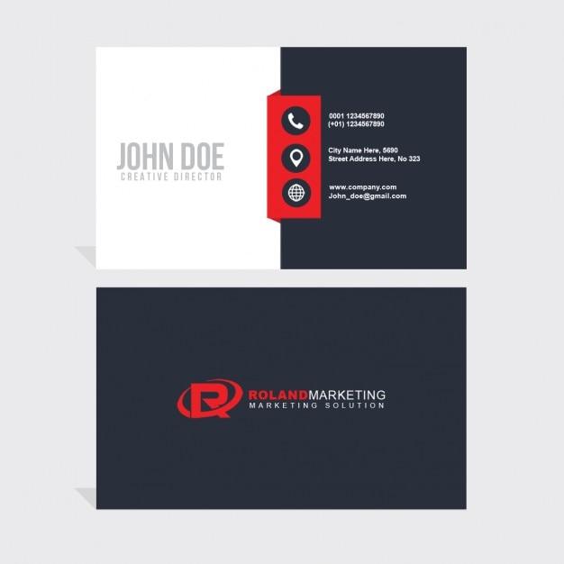 rote und weiße geometrische Visitenkarte Kostenlose PSD