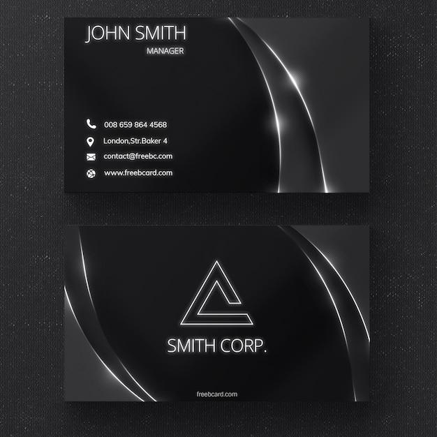 Schwarz-Visitenkarte mit glänzenden Linien Kostenlose PSD