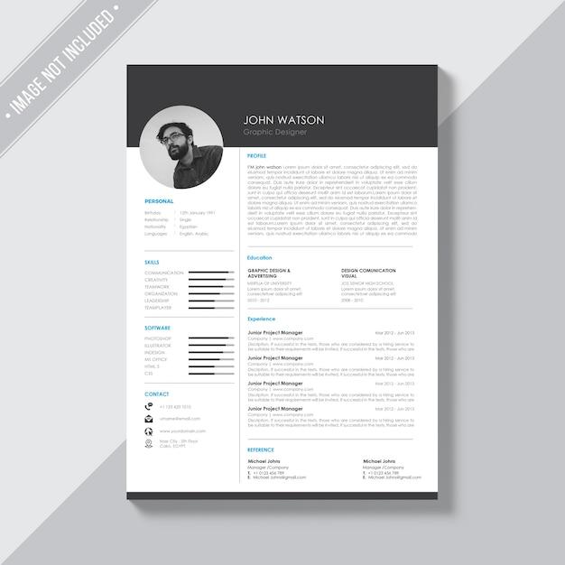 Schwarz-Weiß-Lebenslauf Vorlage | Download der kostenlosen PSD
