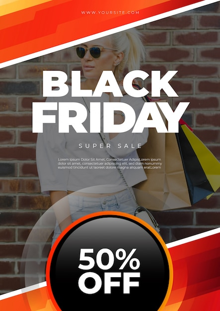 Schwarzer Freitag-Abdeckungsmodell mit Bild Kostenlose PSD
