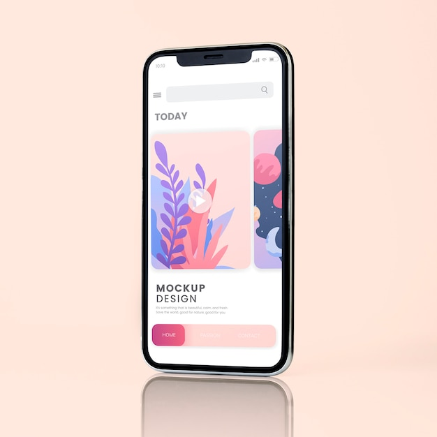 Smartphone-Modelldesign im Vollbildmodus Kostenlose PSD