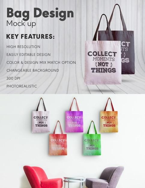 Tasche Design Mock up Kostenlose PSD