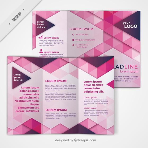 Trifold mit geometrischen Formen in rosa Farbe Kostenlose PSD