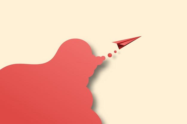 03.avion en papier rouge voler sur fond Vecteur Premium