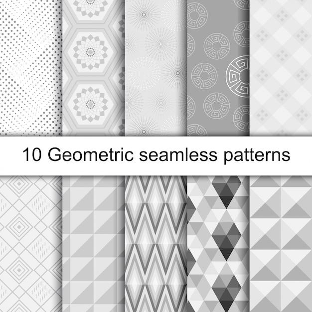 10 modèles sans couture gris géométriques Vecteur Premium