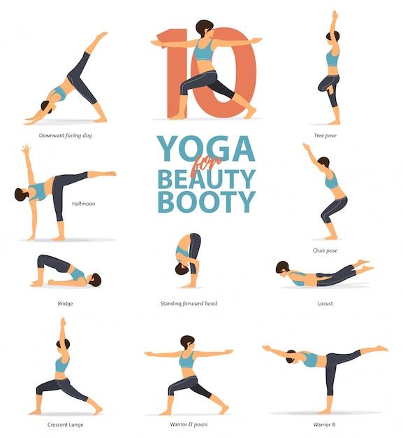 10 poses de yoga pour butin de beauté. Vecteur Premium