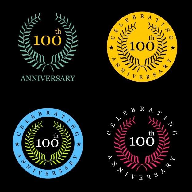 100 ans célébrer couronne de laurier Vecteur gratuit