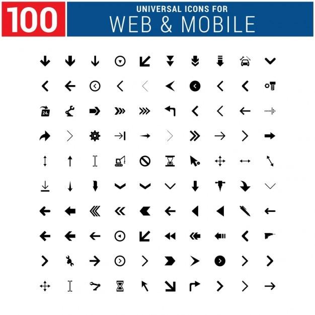 100 Icône Universelle Vecteur gratuit