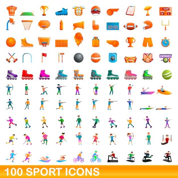 100 Icônes De Sport Définies, Style Cartoon Vecteur Premium