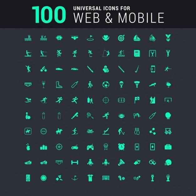100 icônes universelles définies pour le site web et mobiles Vecteur gratuit