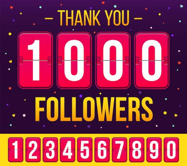 1000 abonnés abonnés, merci bannière. Vecteur Premium