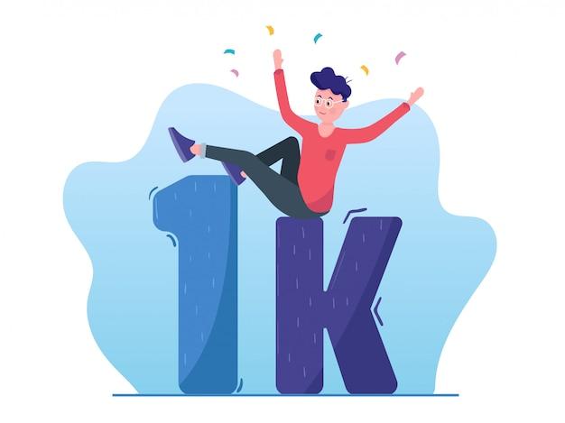 1000 adeptes sur un compte de média social. 1k fans Vecteur Premium