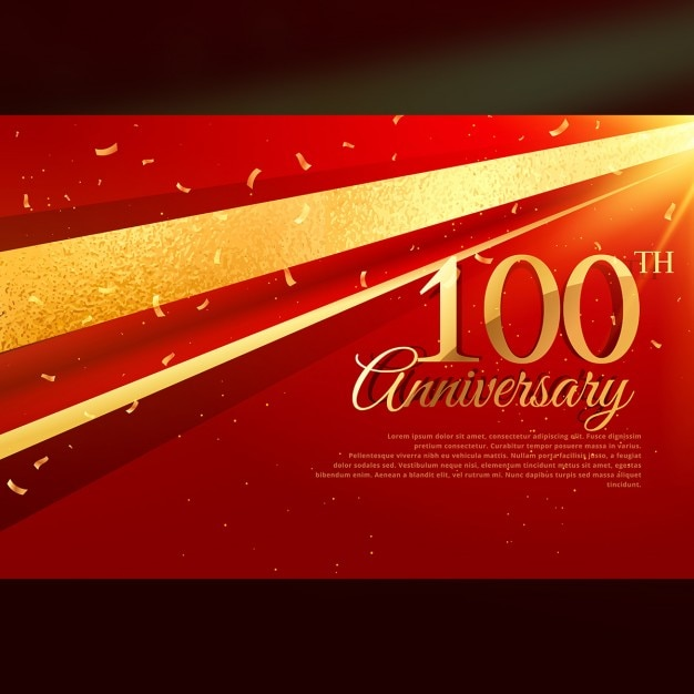 100e anniversaire modèle de carte de célébration Vecteur gratuit