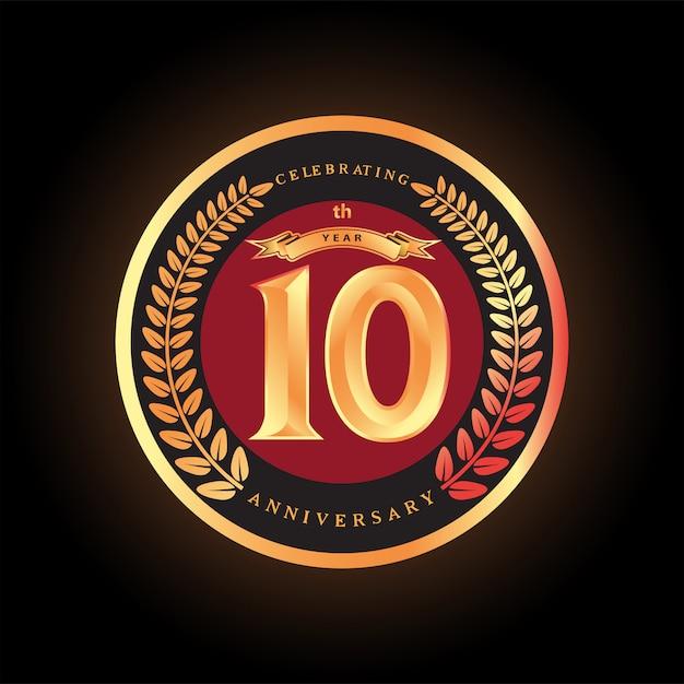 10e Anniversaire Célébrant La Création De Logo Vectoriel Classique Vecteur Premium