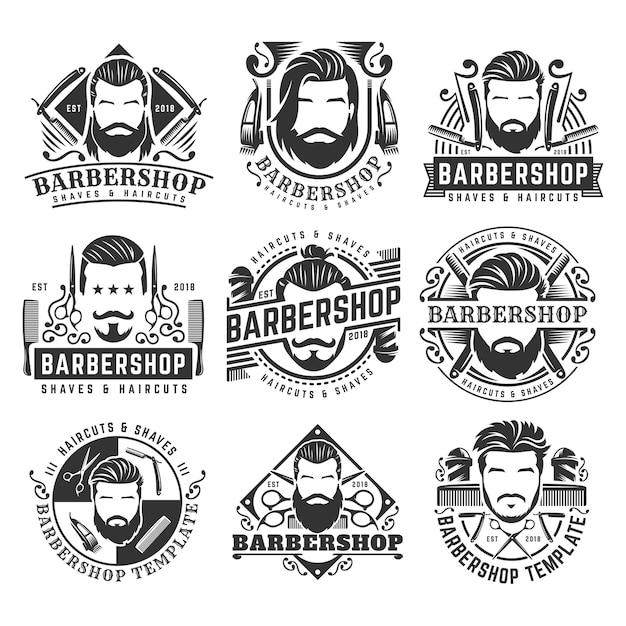12 ensemble de collection de modèles de logo vintage barbershop Vecteur Premium
