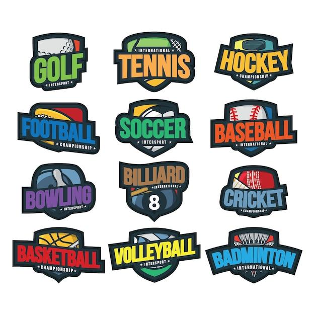 12 illustration vectorielle de sport logo Vecteur Premium