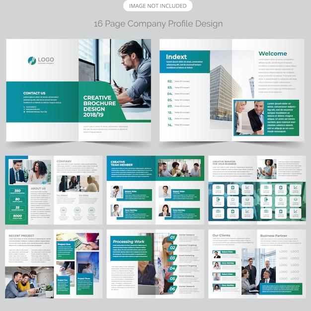 16 page profil de l'entreprise design Vecteur Premium