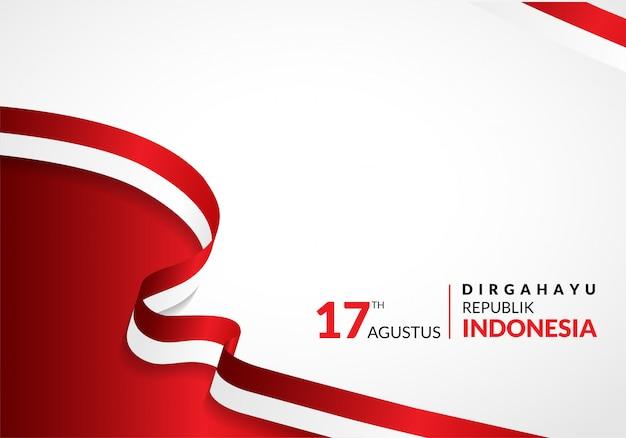 17 Août. Carte De Voeux Pour Le Joyeux Anniversaire De L'indonésie Vecteur Premium