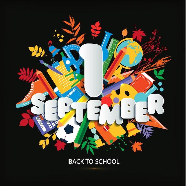 1er septembre journée de la connaissance. illustration lumineuse de vecteur de l'éducation. Vecteur Premium