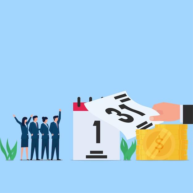 1ère Date De Ce Mois, Heure Du Paiement Du Salaire. Illustration De Concept Plat Entreprise. Vecteur Premium