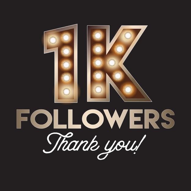 1k followers merci bannière Vecteur Premium