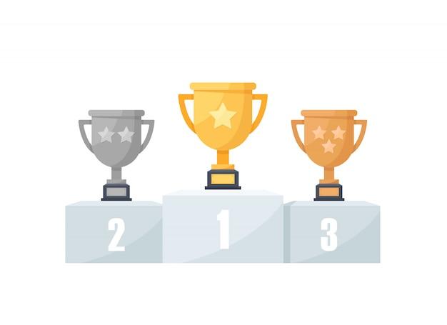 1re, 2e Et 3e Places. Or, Argent, Bronze, Trophée, Icône Du Design Plat Vecteur Premium