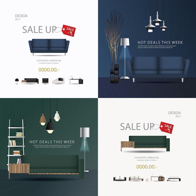 2 bannières meubles vente conception modèle illustration vectorielle Vecteur Premium