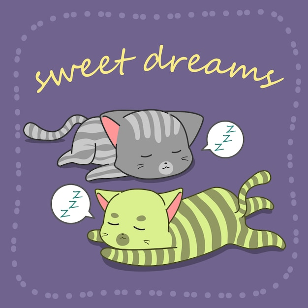 2 chats dorment en style cartoon. Vecteur Premium