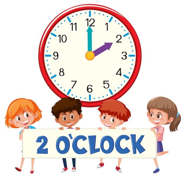 2 heures et les étudiants Vecteur Premium